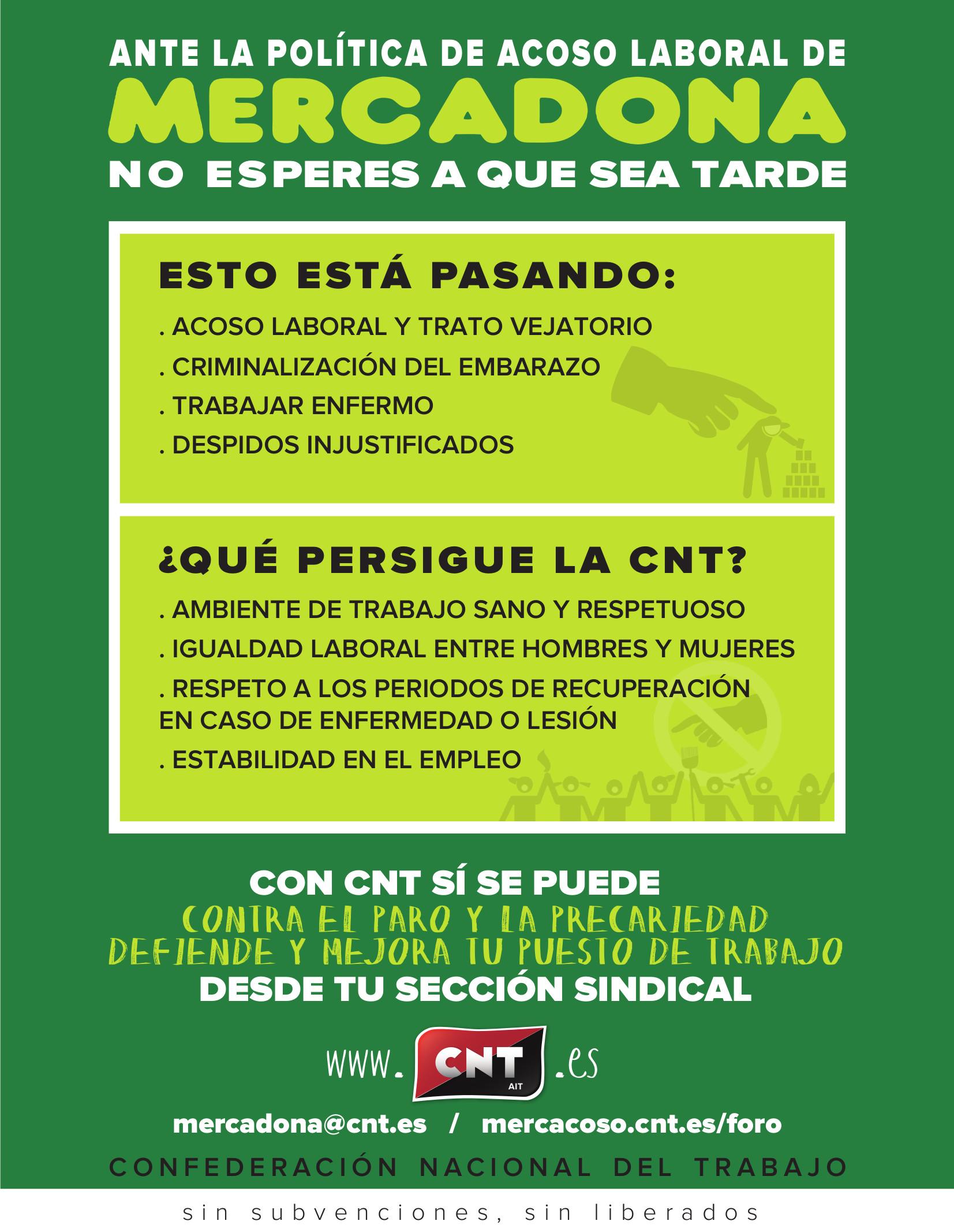 CNT inicia una campaña informativa entre la plantilla de Mercadona ...