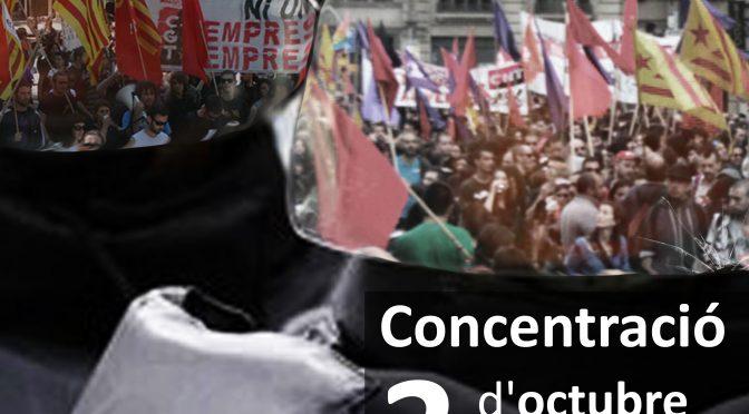 Els sindicats combatius de València convoquen una concentració solidària amb la Vaga General convocada a Catalunya