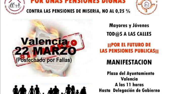 CNT València llama a participar en la manifestación del 22M en defensa de unas pensiones dignas