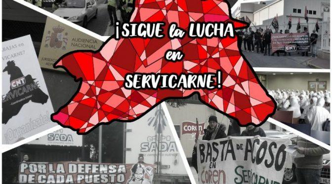 CNT convoca en el centro de València una concentración de protesta por la situación que se está viviendo en Servicarne