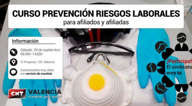 Curso de formación en Riesgos Laborales para la afiliación de CNT València