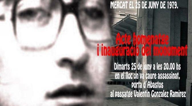 Homenatge a Valentín González al 40 aniversari del seu assassinat