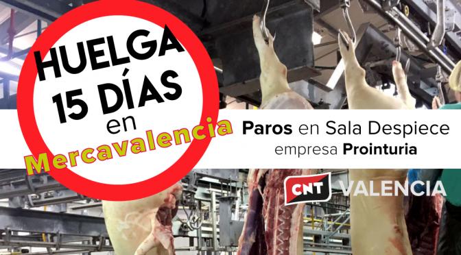 CNT convoca huelga con paros durante 15 días en el matadero de Mercavalencia