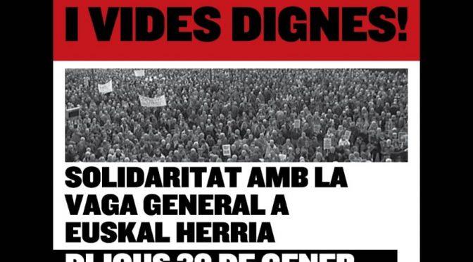[30 gener] Concentració unitària en suport a la vaga general d'Euskal Herria